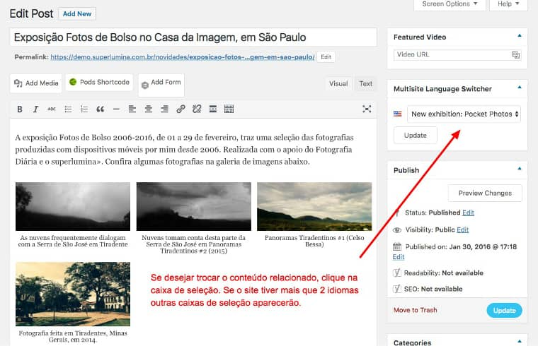 Página de edição com vários conteúdos e destaque na caixa de seleção de posts