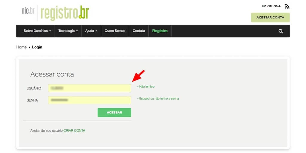 Tela do site www.registro.br (login)